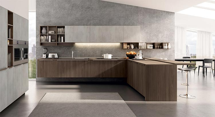Euromobil Lain Modern Contemporary Handleless Fitted Kitchen Cabinets Design Ideas Concrete Grey Dark Elm Laminate Veneer 1 Wonli Kitchens
